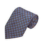 PD-16 | Orange/Cream Horseshoe Pattern On Light Blue Men's Printed Design Necktie