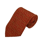 PD-23 | Gold Nautical Anchor Pattern On Red Men's Printed Design Necktie
