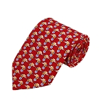 PD-29 | Cream Elephant W. Ball Pattern On Red Men's Printed Design Necktie
