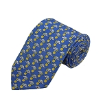 PD-30 | Cream Elephant W. Ball Pattern On Steel Blue Men's Printed Design Necktie