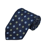 PD-31 | Blue/Yellow Flower Pattern On Navy Men's Printed Design Necktie