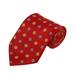 PD-32 | Orange/Light Grey Flower Pattern On Red Men's Printed Design Necktie