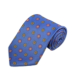 PD-33 | Pink/Yellow Flower Pattern On Steel Blue Men's Printed Design Necktie
