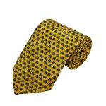 PD-35 | Blue Turtle Pattern On Yellow Men's Printed Design Necktie