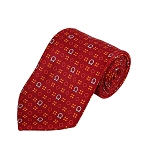 PD-37 | Red/Orange/Cream Geometrical Pattern On Red Men's Printed Design Necktie
