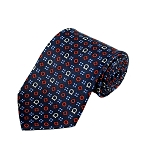 PD-39 | Red/Steel Blue/Cream Geometrical Pattern On Navy Men's Printed Design Necktie