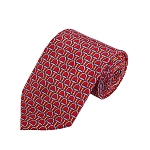 PD-40 | Steel Blue Belt Pattern On Red Men's Printed Design Necktie
