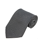 PD-42 | White Bowtie Pattern On Black Men's Printed Design Necktie