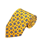 PD-44 | Steel Blue Flower Pattern On Yellow Men's Printed Design Necktie