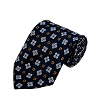 PD-45 | Grey Flower Pattern On Navy Men's Printed Design Necktie
