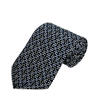 PD-48 | Light Blue Flower W. Cream Horseshoe Pattern On Navy Men's Printed Design Necktie