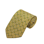 PD-49 | White Flower W. Steel Blue Horseshoe Pattern On Yellow Men's Printed Design Necktie