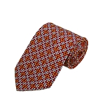 PD-50 | Grey Flower W. Orange Horseshoe Pattern On Red Men's Printed Design Necktie