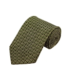 PD-54 | Green/Cream Chain Link Pattern On Olive Men's Printed Design Necktie