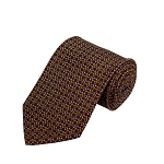 PD-55 | Gold/Pink Chain Link Pattern On Brown Men's Printed Design Necktie