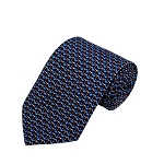 PD-58 | Steel Blue W. Red/White Anchor Pattern On Navy Men's Printed Design Necktie