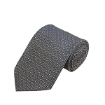 PD-60 | Grey W. Blue/White Anchor Pattern On Grey Men's Printed Design Necktie