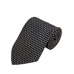 PD-61 | Grey W. Dark Grey/White Anchor Pattern On Black Men's Printed Design Necktie