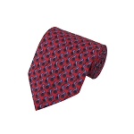 PT-03A | Steel Blue French Horn Patterns on Red Men's Printed Design Necktie