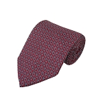 PT-04B | Chain Link Patterns on Crimson Red Men's Printed Design Necktie