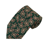 PT-15 | Beige and Brown Paisley on Dark Teal Green Men's Printed Design Necktie