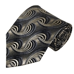 ST-02 | Charcoal Gray and White Gradient Swirl Pattern Mens Silk Blend Woven Ties