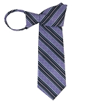 WZ-129A | Lavender, Eggplant, and Steel Blue Weave Striped Woven Zipper Tie