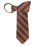 WZ-129C | Burnt Orange, Navy Blue and Copper Weave Striped Woven Zipper Tie