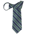 WZ-129D | Sage Green, Navy Blue and Powder Blue Weave Striped Woven Zipper Tie