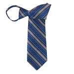 WZ-129F | Royal Blue and SIlver Weave Striped Woven Zipper Tie