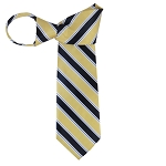 WZ-130B | Light Yellow and Navy Blue Striped Woven Zipper Tie