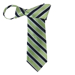 WZ-130C | Pear Green and Navy Blue Striped Woven Zipper Tie