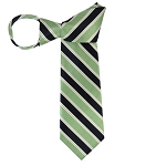 WZ-130E | Light Green and Navy Blue Striped Woven Zipper Tie