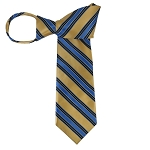 WZ-131C | Honey Gold, Navy Blue and Steel Blue Multi-Striped Woven Zipper Tie