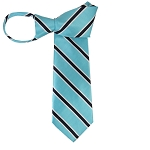 WZ-132B | Sky Blue and Navy Blue Narrow Striped Woven Zipper Tie