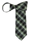 WZ-133B | Multi-Shade Green Plaid Woven Zipper Tie