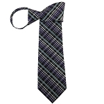 WZ-134 | Multi-Shade Purple and Light Blue Striped Plaid Woven Zipper Tie