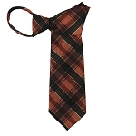 WZ-137 | Brown, Copper and Rust Tartan Plaid Woven Zipper Tie