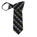 WZ-138 | Navy Blue, Honey Gold and Beige Tartan Plaid Woven Zipper Tie