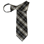 WZ-139 | Honey Gold Stripe on Black and Silver Plaid Woven Zipper Tie