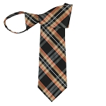 WZ-141 | Honey, Lite Coral and Black Plaid Woven Zipper Tie