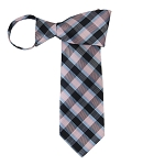 WZ-142 | Powder Blue, Pink and Black Plaid Woven Zipper Tie