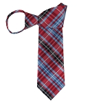 WZ-143 | Red and Steel Blue Tartan Plaid Woven Zipper Tie