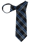 WZ-144 | Multi-Shaded Blue Tartan Plaid Woven Zipper Tie