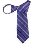 WZ-145 | Navy Blue and Powder Blue and Purple Stripes Woven Zipper Tie