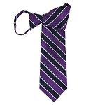 WZ-146 | Violet and Navy Blue Striped Woven Zipper Tie