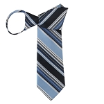 WZ-150 | Powder Blue and Navy Blue Multi-Striped Woven Zipper Tie