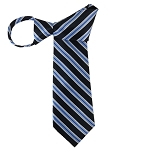 WZ-151 | Steel Blue and Navy Blue Striped Woven Zipper Tie