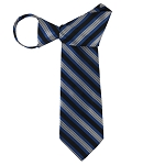 WZ-153 | Peacock Blue, Black and Silver Multi-Striped Woven Zipper Tie