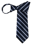 WZ-154 | Navy Blue, Royal Blue and Silver Narrow Striped Woven Zipper Tie